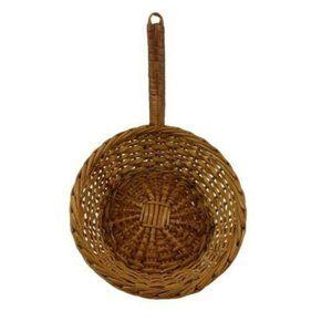 Frying Pan shaped Wicker Basket Vintage Kitchen